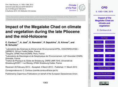 Impact of the Megalake Chad on Climate a... by Contoux, C.