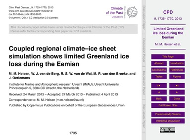 Coupled Regional Climate–ice Sheet Simul... by Helsen, M. M.