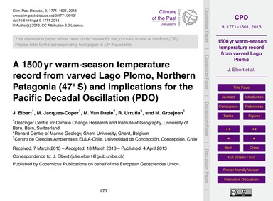 A 1500 Yr Warm-season Temperature Record... by Elbert, J.