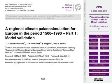 A Regional Climate Palaeosimulation for ... by Gómez-navarro, J. J.
