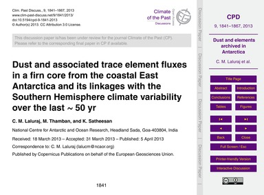 Dust and Associated Trace Element Fluxes... by Laluraj, C. M.