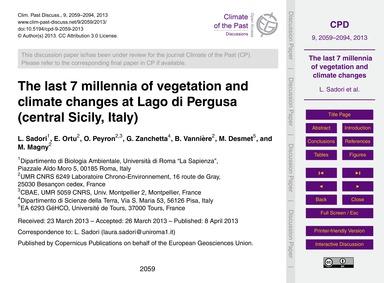 The Last 7 Millennia of Vegetation and C... by Sadori, L.