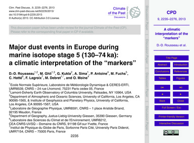 Major Dust Events in Europe During Marin... by Rousseau, D.-d.