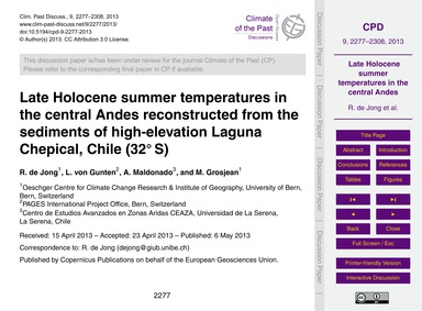 Late Holocene Summer Temperatures in the... by De Jong, R.