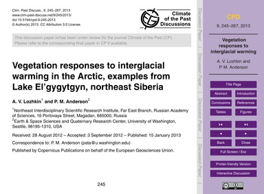 Vegetation Responses to Interglacial War... by Lozhkin, A. V.