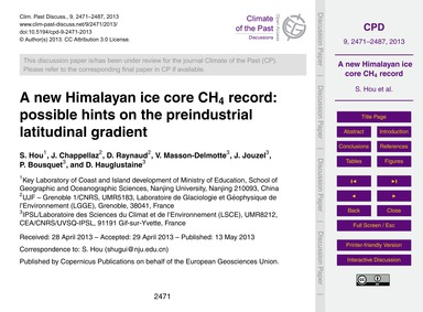 A New Himalayan Ice Core Ch4 Record: Pos... by Hou, S.