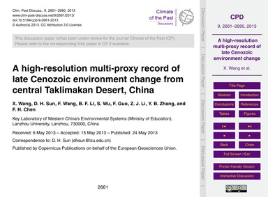 A High-resolution Multi-proxy Record of ... by Wang, X.