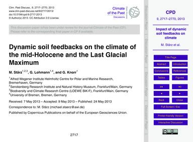 Dynamic Soil Feedbacks on the Climate of... by Stärz, M.