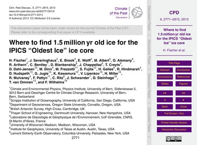 Where to Find 1.5 Million Yr Old Ice for... by Fischer, H.