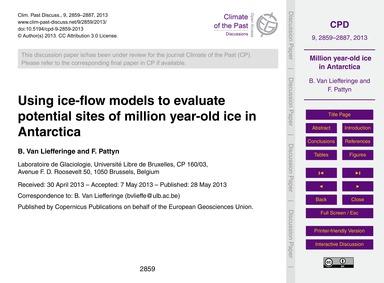 Using Ice-flow Models to Evaluate Potent... by Van Liefferinge, B.