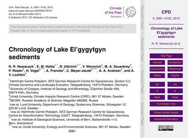 Chronology of Lake El'Gygytgyn Sediments... by Nowaczyk, N. R.