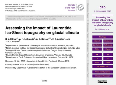 Assessing the Impact of Laurentide Ice-s... by Ullman, D. J.