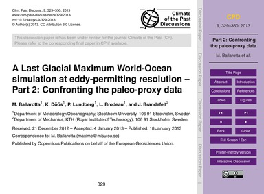 A Last Glacial Maximum World-ocean Simul... by Ballarotta, M.