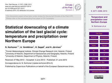 Statistical Downscaling of a Climate Sim... by Korhonen, N.
