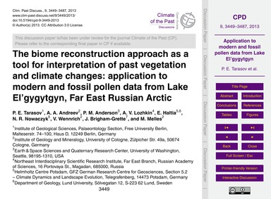 The Biome Reconstruction Approach as a T... by Tarasov, P. E.