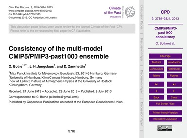 Consistency of the Multi-model Cmip5/Pmi... by Bothe, O.