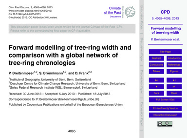 Forward Modelling of Tree-ring Width and... by Breitenmoser, P.