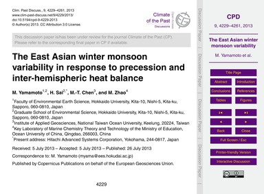 The East Asian Winter Monsoon Variabilit... by Yamamoto, M.