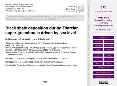Black Shale Deposition During Toarcian S... by Hermoso, M.