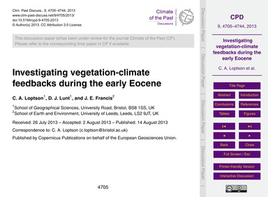 Investigating Vegetation-climate Feedbac... by Loptson, C. A.