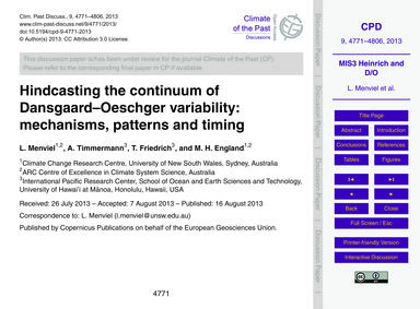 Hindcasting the Continuum of Dansgaard–o... by Menviel, L.