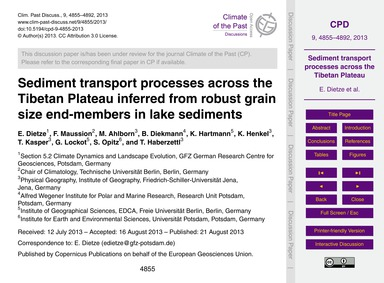 Sediment Transport Processes Across the ... by Dietze, E.