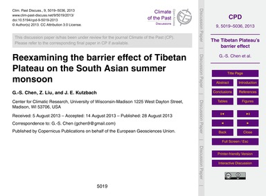 Reexamining the Barrier Effect of Tibeta... by Chen, G.-s.