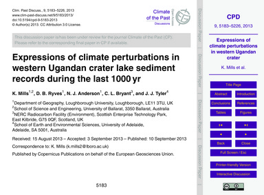 Expressions of Climate Perturbations in ... by Mills, K.