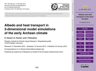 Albedo and Heat Transport in 3-dimension... by Kienert, H.