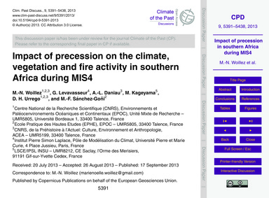 Impact of Precession on the Climate, Veg... by Woillez, M.-n.