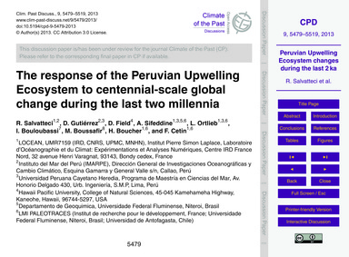 The Response of the Peruvian Upwelling E... by Salvatteci, R.
