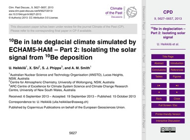 10Be in Late Deglacial Climate Simulated... by Heikkilä, U.