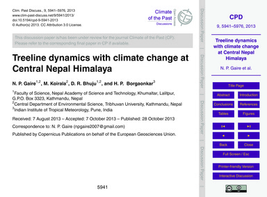 Treeline Dynamics with Climate Change at... by Gaire, N. P.