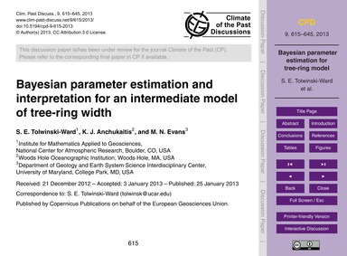 Bayesian Parameter Estimation and Interp... by Tolwinski-ward, S. E.