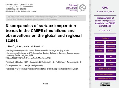 Discrepancies of Surface Temperature Tre... by Zhao, L.