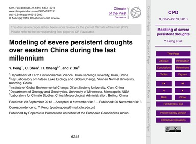 Modeling of Severe Persistent Droughts O... by Peng, Y.