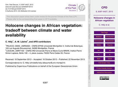 Holocene Changes in African Vegetation: ... by Hély, C.