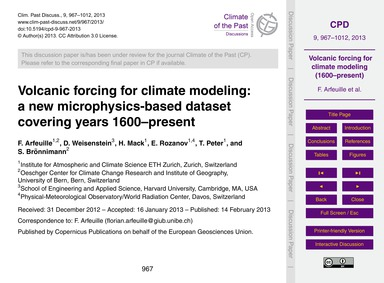 Volcanic Forcing for Climate Modeling: a... by Arfeuille, F.