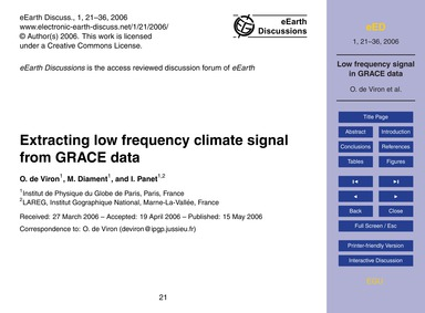Extracting Low Frequency Climate Signal ... by De Viron, O.