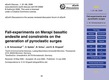 Fall-experiments on Merapi Basaltic Ande... by Schwarzkopf, L. M.
