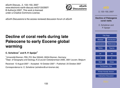Decline of Coral Reefs During Late Paleo... by Scheibner, C.