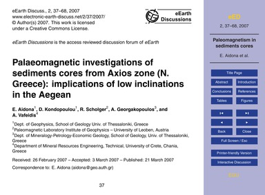 Palaeomagnetic Investigations of Sedimen... by Aidona, E.
