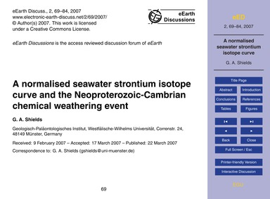 A Normalised Seawater Strontium Isotope ... by Shields, G. A.