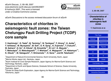 Characteristics of Chlorites in Seismoge... by Hashimoto, Y.