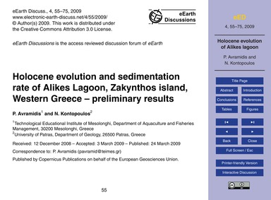 Holocene Evolution and Sedimentation Rat... by Avramidis, P.