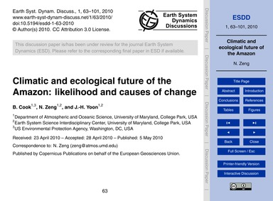 Climatic and Ecological Future of the Am... by Cook, B.
