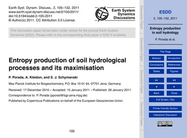 Entropy Production of Soil Hydrological ... by Porada, P.