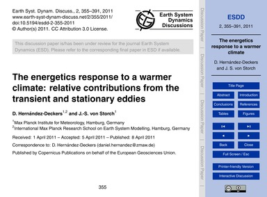 The Energetics Response to a Warmer Clim... by Hernández-deckers, D.