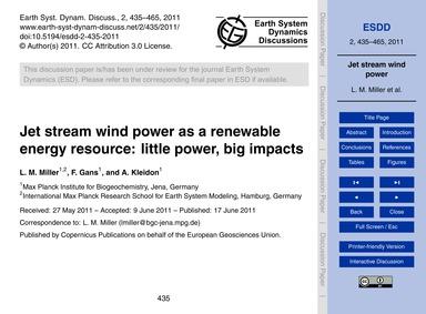 Jet Stream Wind Power as a Renewable Ene... by Miller, L. M.