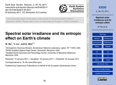 Spectral Solar Irradiance and Its Entrop... by Wu, W.